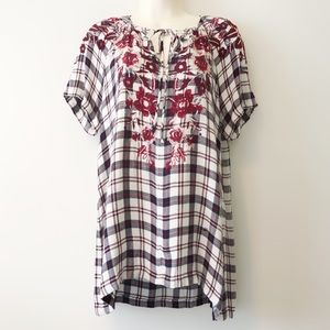 Johnny Was Workshop Embroidered Plaid Floral Tunic